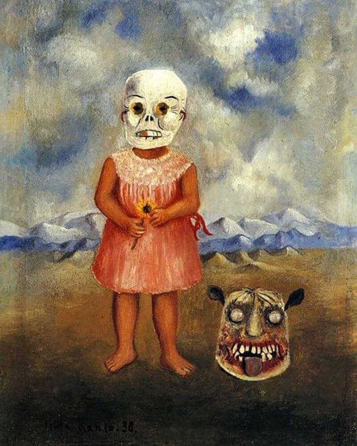 girl with death mask 1938 by frida kahlo