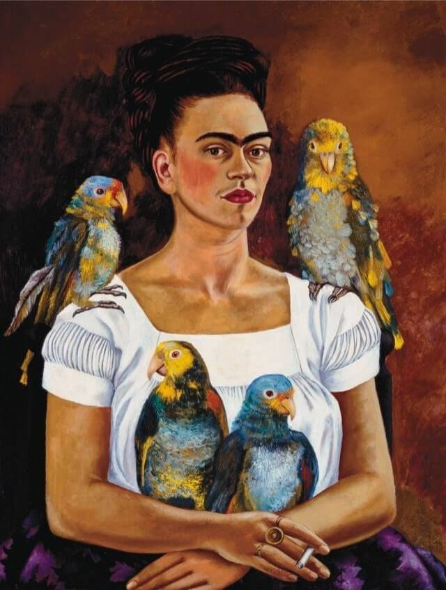 Image result for self portrait frida kahlo parrot