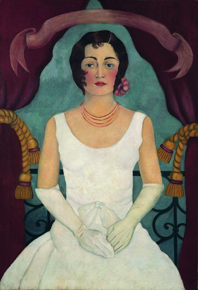 portrait of a woman in white by frida kahlo