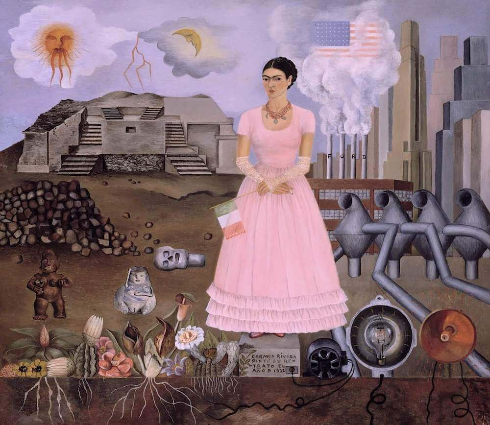 Frida Kalo - Page 3 Self-portrait-along-the-boarder-line-between-mexico-and-the-united-states