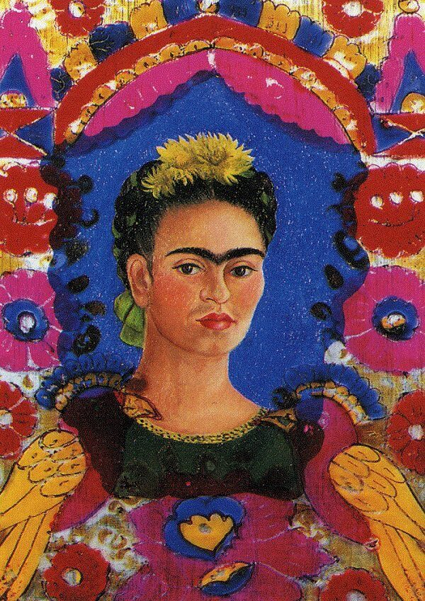 Self portrait the frame - by Frida Kahlo