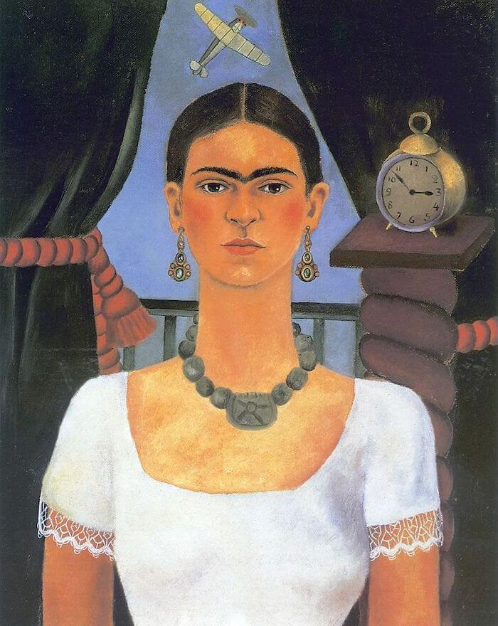 Self Portrait Time Flies - by Frida Kahlo