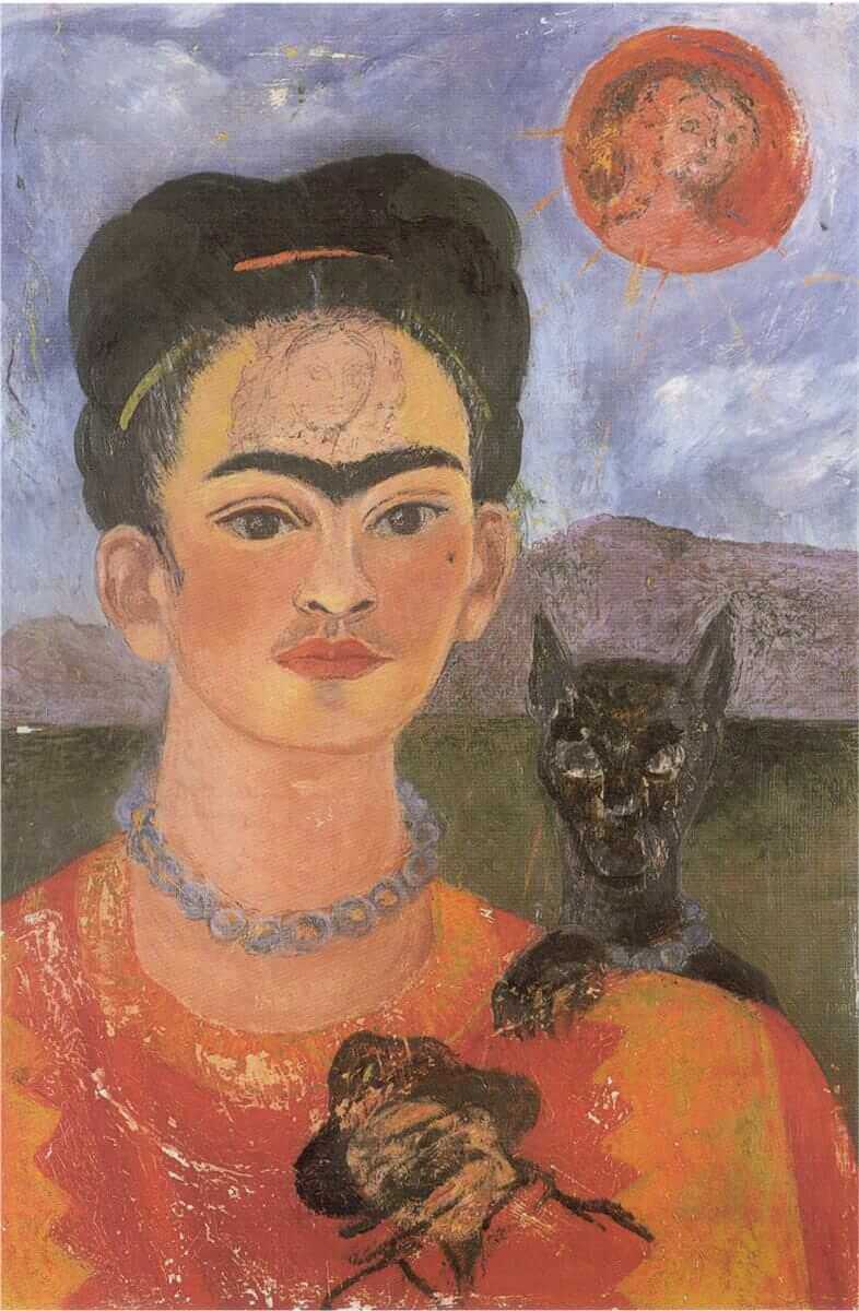 Self portrait with a portrait of diego on the breast and maria between the eyebrows - by Frida Kahlo