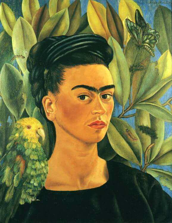 Self portrait with bonito - by Frida Kahlo