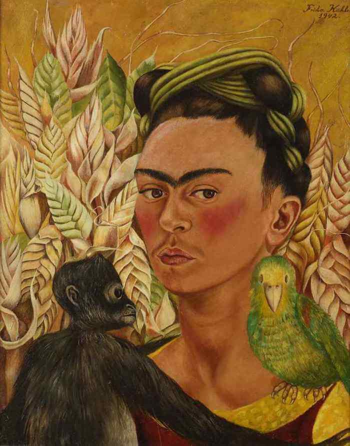 self portrait with monkey and parrot by frida kahlo. Black Bedroom Furniture Sets. Home Design Ideas