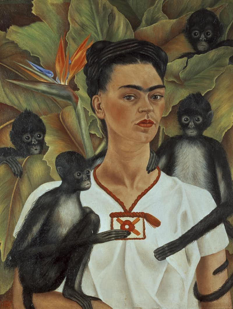 Self Portrait with Monkeys, 1943 - by Frida Kahlo