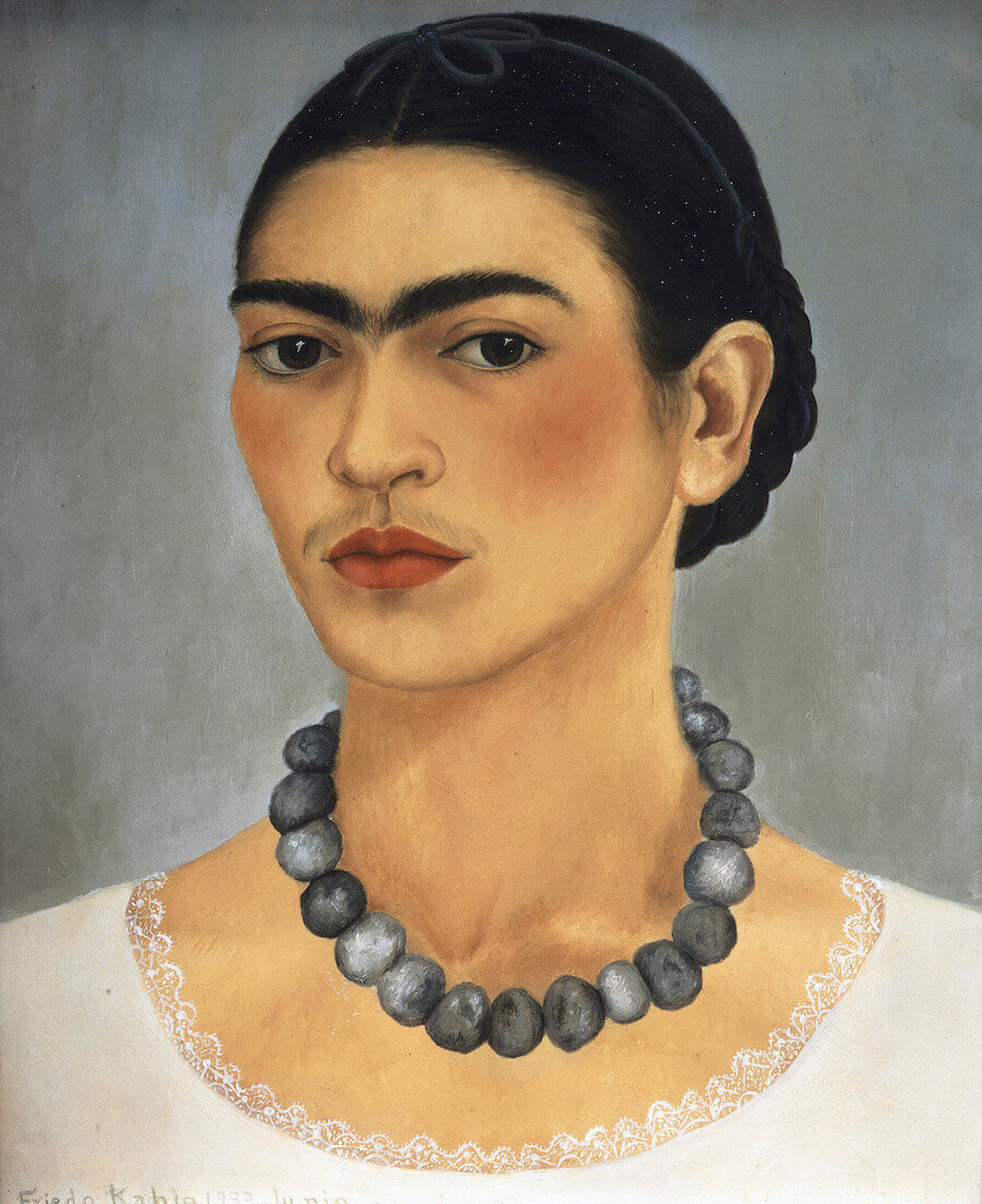 Self portrait with necklace - by Frida Kahlo