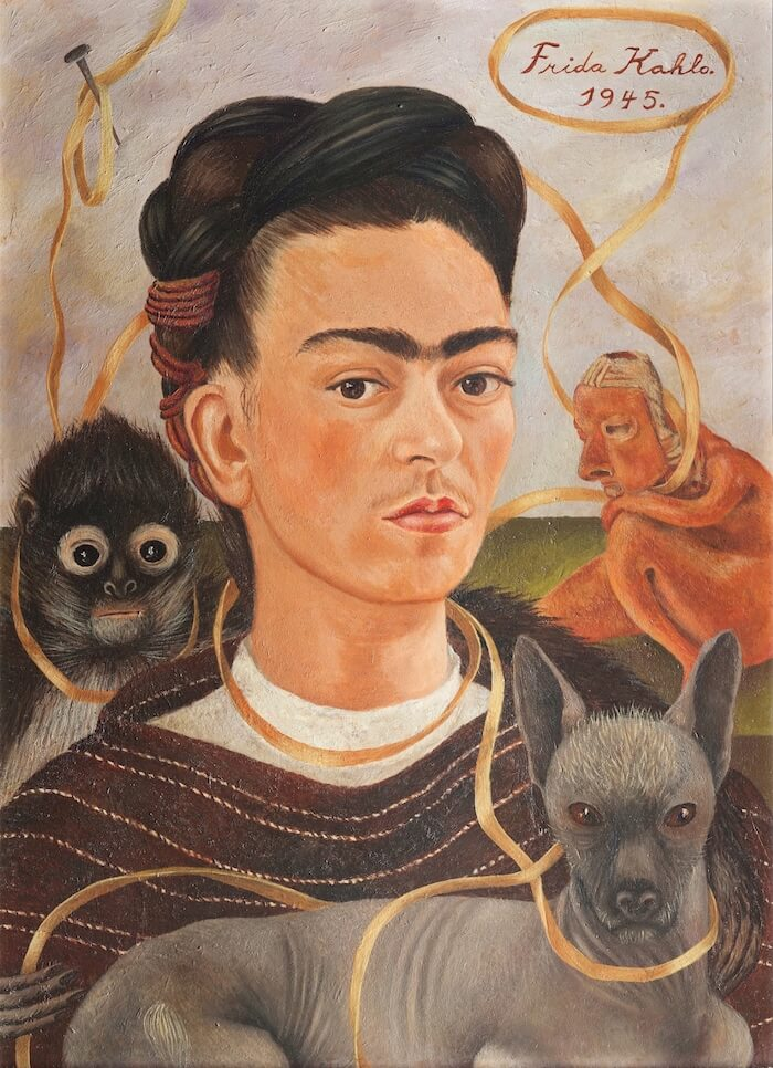 Self Portrait with Small Monkey, 1945 - by Frida Kahlo