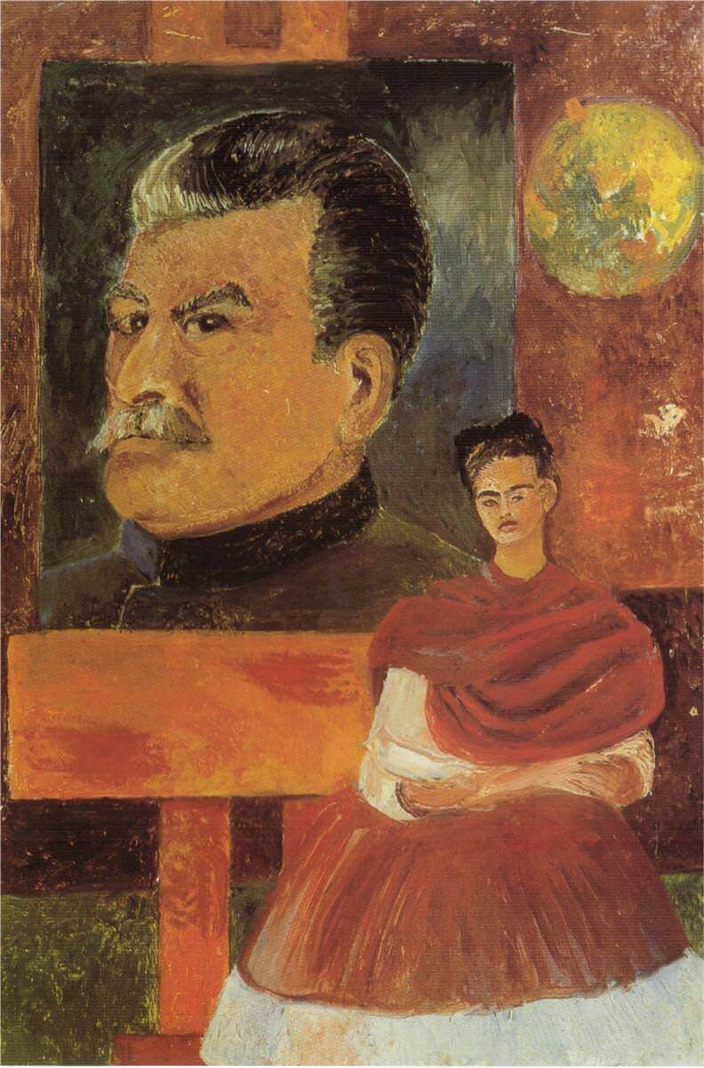 Self portrait with stalin - by Frida Kahlo