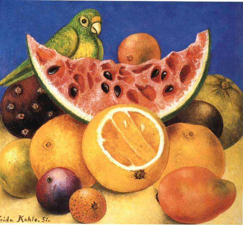 Still life with parrot - by Frida Kahlo