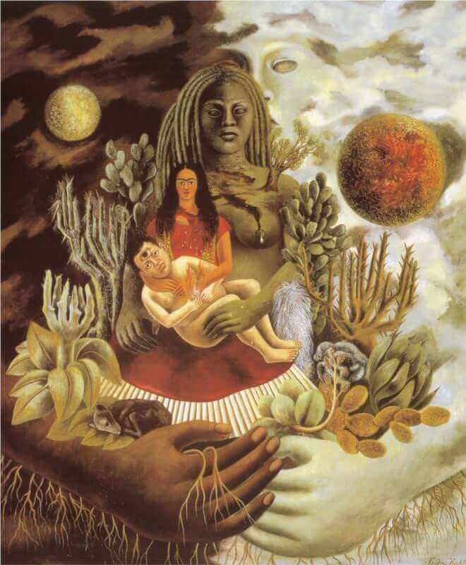 The love embrace of the universe the earth mexico myself diego and senor xolotl - by Frida Kahlo