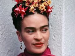 Frida Kahlo in Pink and Green Dress
